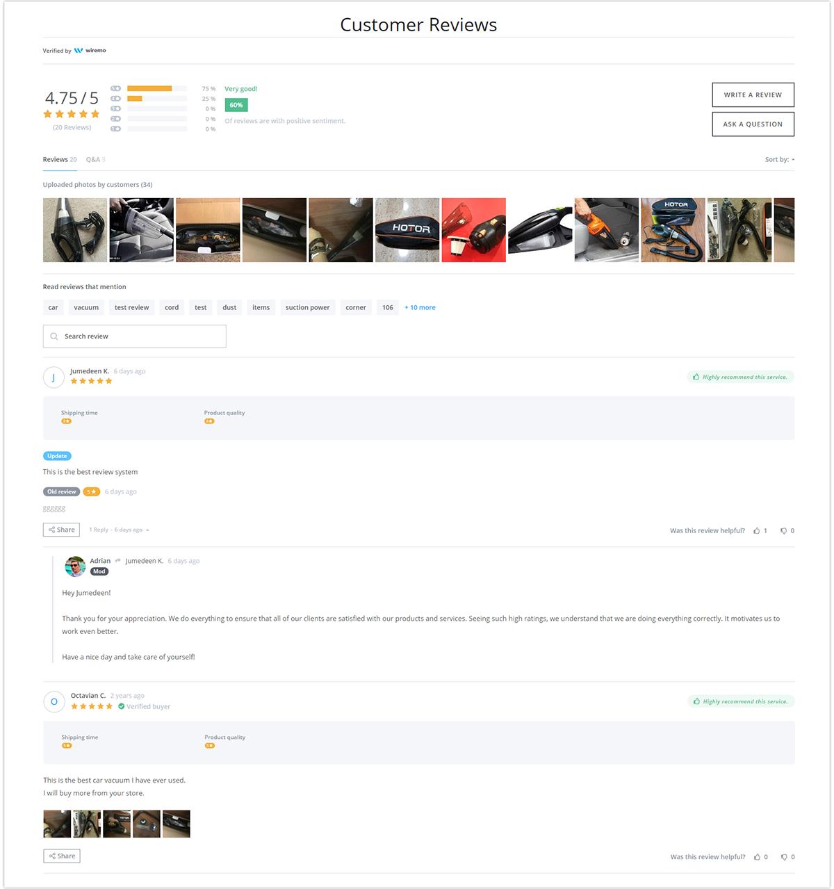 Squarespace product review widget