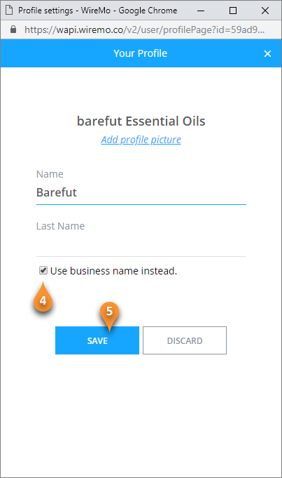 How to use business name instead of the First and Last name