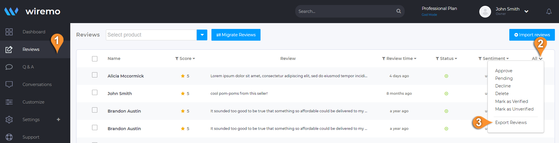 How to Export Reviews From Wiremo