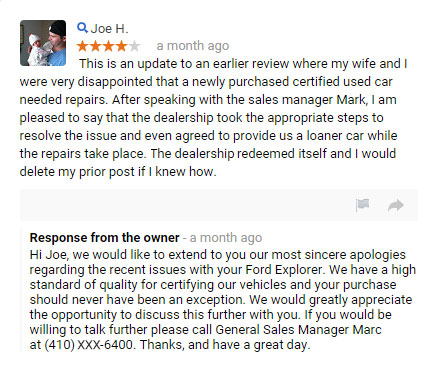 reply to negative review