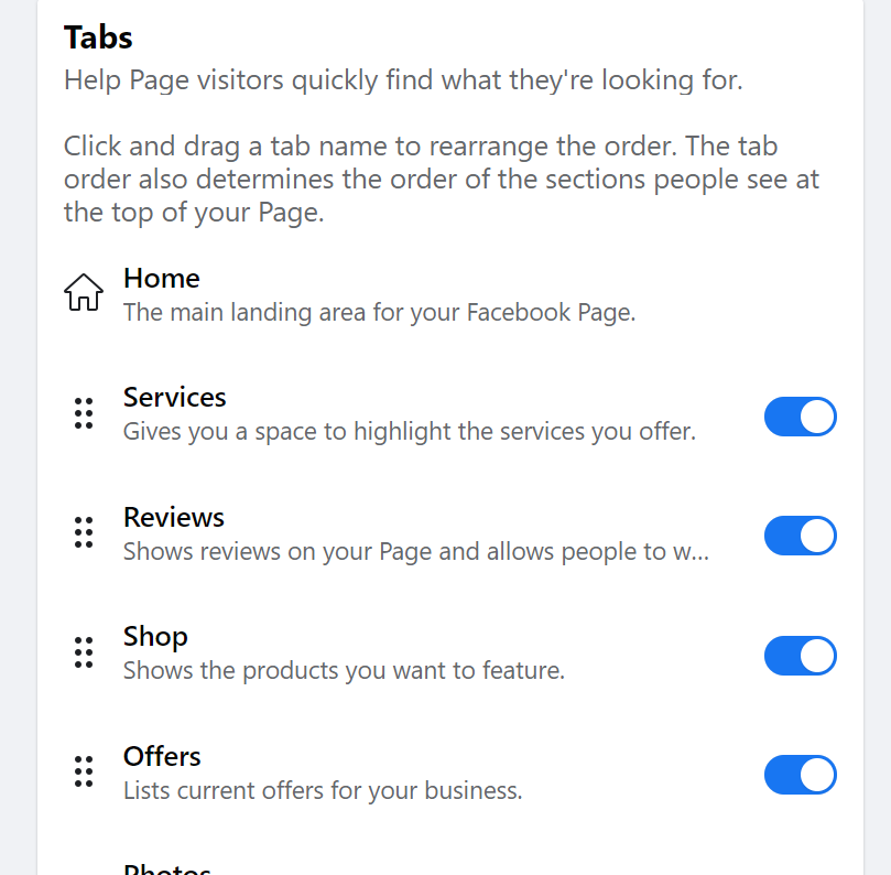 how to deactivate reviews tab in facebook
